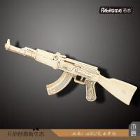 儿童益智玩具 木制玩具枪 3d立体拼图 M4款