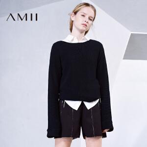 【品牌团 1件7折/2件5折】AMII[极简主义]女冬新纯色一字领落肩反折加长袖毛衣11673094