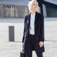 AMII[极简主义]冬新品翻领条纹中长款羊毛混纺呢子外套女