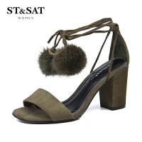 【满99减30】星期六(ST&SAT)夏季专柜同款羊皮革一字扣舒适粗跟凉鞋SS72115767