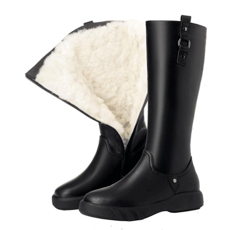 中筒雪地靴子女冬加厚绒平底毛一体女士高长筒靴大码妈妈棉鞋 A款+羊皮毛一体 筒高30cm