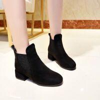 靴子女短靴高跟鞋中跟2019秋冬季粗跟加�q�R丁靴一�_蹬短筒����鞋