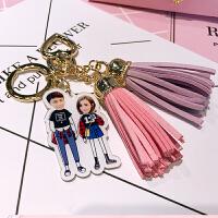 亚克力汽车钥匙扣定制卡通创意情侣照片钥匙链挂件diy生日礼物