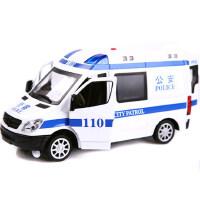 美致 MZ合金车模型仿真奔驰110120警车声光合金车模儿童玩具小汽车