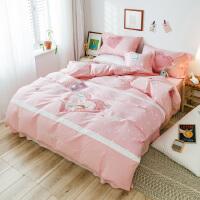 小清新可爱纯棉四件套刺绣卡通被套女孩韩版1.2米儿童单人1.8m床上用品