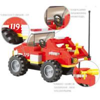 小鲁班消防模型 创意积木特勤 6岁男孩益智积木拼装玩具