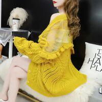 网红针织开衫女中长款蕾丝拼接镂空慵懒风春秋季宽松毛衣外套
