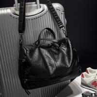 女包新款斜挎包水洗皮韩版机车包女包手提单肩包女士大包包 黑色