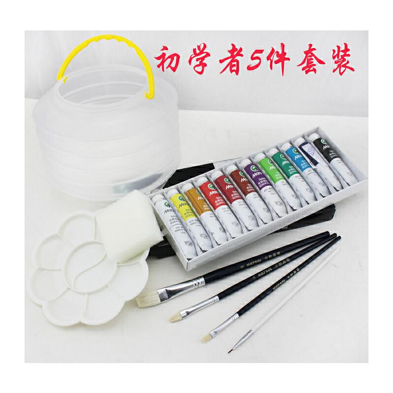 新品水粉套装-马利牌水粉颜料12色+画笔+水粉纸+调色盘+洗笔桶 优质画材 学画可适用