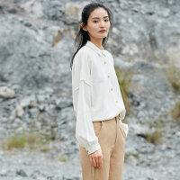 【AMII大牌日 2件4折】东方极简设计师品牌2018春装新款白色长袖衬衫衣女中长款棉麻复古