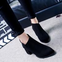 秋冬新款短靴磨砂女靴英伦短筒靴粗跟裸靴高跟后拉链女鞋百搭单品 黑色 35