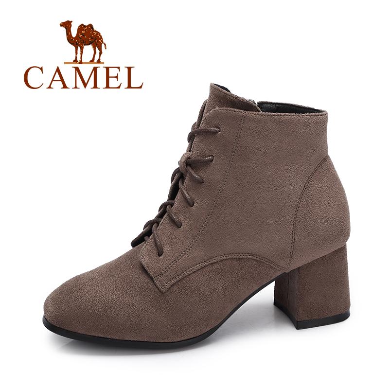 camel/骆驼女鞋 秋冬新品时尚绒面女靴子优雅摩登拉链绑带高跟短靴