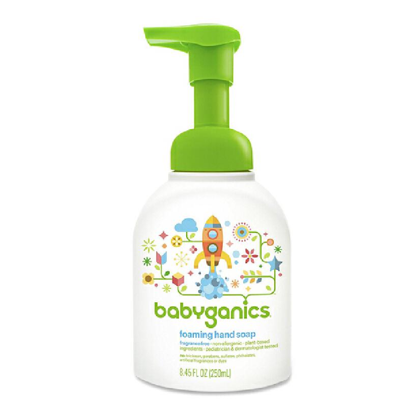 美国直邮/保税区发货 Babyganics/甘尼克宝贝 泡沫洗手液 无香 8.45oz/250ml 海外购