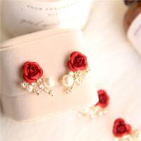 珍珠耳环红色耳钉结婚耳饰对称耳夹无洞