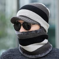 冬天针织帽子男护耳保暖防风毛线帽骑车连体帽子围巾一体