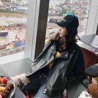 皮衣外套女2019春秋冬季短款机车服宽松韩版学生皮夹克bf 黑色