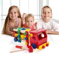 儿童早教手工木制螺丝车多功能组拆装车益智玩具拆装螺母车 周岁生日圣诞节新年六一儿童节礼物