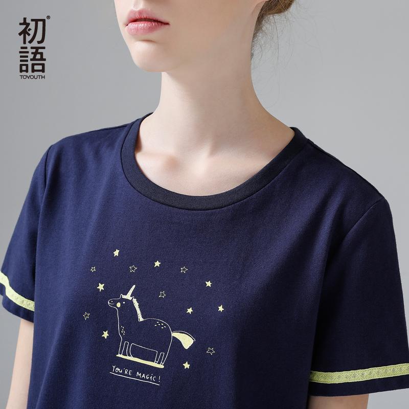 初语2017夏装新款 独角兽印花圆领短袖纯棉撞色T恤女宽松学生上衣