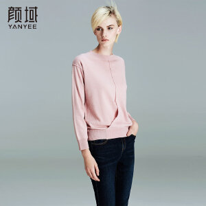 颜域品牌女装2017秋冬新款欧美品牌圆领直筒宽松套头羊毛衫上衣