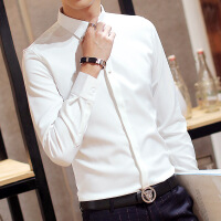 №【2019新款】冬天年轻人穿的纯色免烫休闲衬衣男士加绒长袖韩版修身商务白衬衫