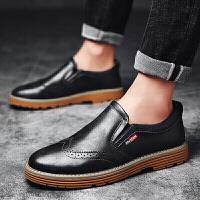 休闲鞋男布洛克雕花真皮男鞋皮鞋男英伦韩版尖头商务一脚蹬潮鞋