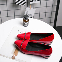 大东同款春秋红色尖头漆皮浅口平跟单鞋女秋低跟粗跟小皮鞋平底女瓢鞋