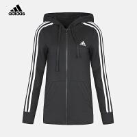 adidas阿迪达斯2018新款女子女训运动休闲连帽针织夹克外套BR2467