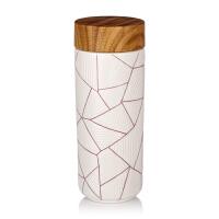 乾唐轩活瓷杯正品七巧板随身杯六棱纹随身杯双层350ml 创意陶瓷便携水杯子