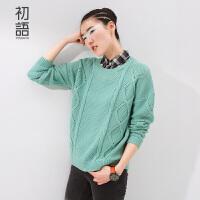 初语冬季新款女装针织格纹拼接翻领假两件麻花宽松长袖毛衣女8530323011