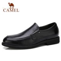 Camel/骆驼男鞋冬季商务正装皮鞋小牛皮休闲套脚防滑皮鞋