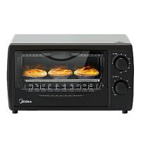 美的(Midea) 多功能迷你烘焙钢化玻璃门电烤箱 10升 黑色 PT1011