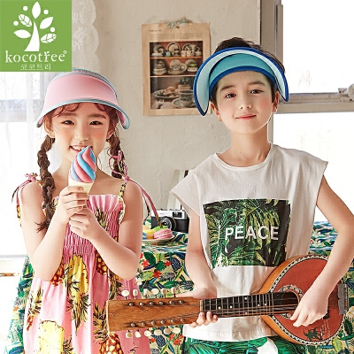 kk树新款自然儿童帽子男女童帽子夏季潮儿童太阳帽小孩防晒遮阳帽春夏 新款 透气吸汗 防紫外线