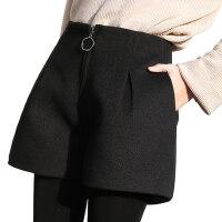 2018新款冬天毛呢打底短裤女秋冬款 外穿高腰A字宽松显瘦靴裤子女