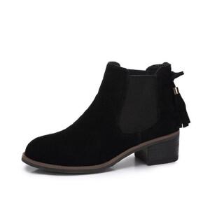 camel 骆驼女鞋  秋冬新款 复古简流苏跟短靴 中跟切尔西靴