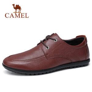 camel 骆驼男鞋新品透气耐穿舒适系带商务休闲鞋柔软牛皮鞋男