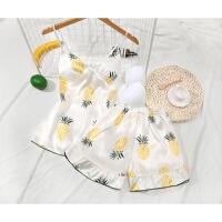夏季睡衣两件套性感蕾丝吊带短裤套装韩版清新学生薄款家居服 菠萝 +可拆卸胸垫