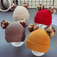 秋冬儿童宝宝帽子1男童毛线帽潮款女童豹纹毛球帽5个月-2岁韩版