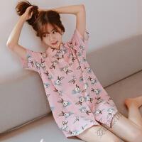 睡裙女夏 甜美可爱卡通韩版清新学生少女短袖 粉色睡衣家居服睡裙 粉红色