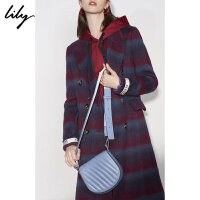 Lily春新款女装牛皮革斜纹马鞍形斜跨包单肩包118400BZ432