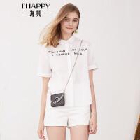 【2件5折】【4.19上新】海贝2017年夏季新款棉质polo领白色衬衫女 字母印花短袖百搭上衣