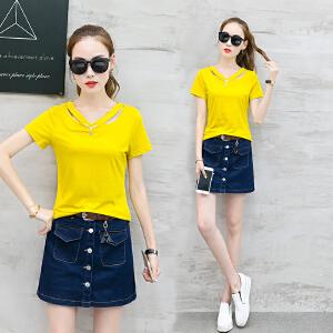 2018夏季新款韩版修身V领棉短袖T恤女学生色上衣女