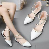 一字扣带铆钉平底凉鞋2019夏季新款时尚韩版低跟单鞋女鞋