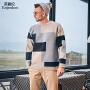 英爵伦 2019秋冬新款毛衣男士 日系色块拼接 潮流针织衫厚款 冬季