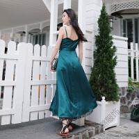 2018夏季V领蕾丝拼接裙摆开叉连衣裙收腰吊带沙滩裙长裙 绿色