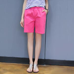 卡茗语韩版五分裤女夏季宽松大码松紧腰休闲裤运动纯色百搭中裤