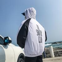 夏装港风拼色连帽夹克男士防晒衣学生棒球服韩版时尚休闲运动外套