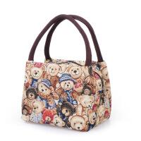 手提包女款手拎包女士小布包女包手提包帆布包迷时尚熊包包手拿大容量饭盒袋便当包
