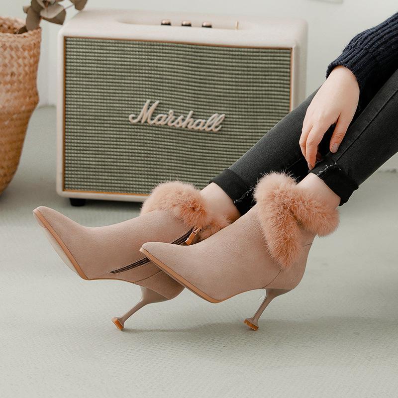 №【2019新款】冬天美女穿的秋高跟女鞋短靴女马丁靴毛毛鞋细跟短筒棉靴子女