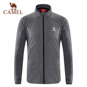 camel骆驼运动男款针织外套 透气微弹立领时尚舒适长袖