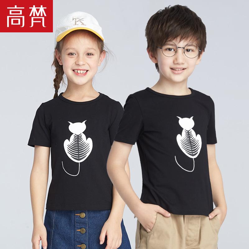 高梵2018新款儿童t恤女童简约女短袖圆领夏宽松印花半袖夏